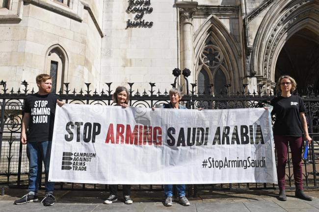 Saudi arms case protesters
