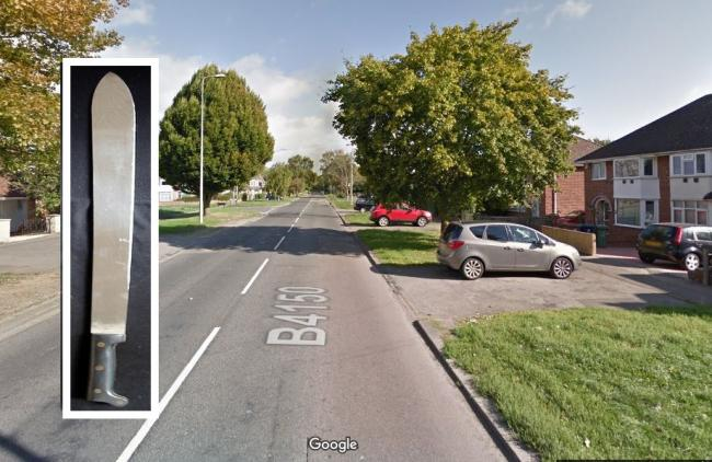 A file photo of a machete and Marsh Lane in Oxford. Picture: Google Maps