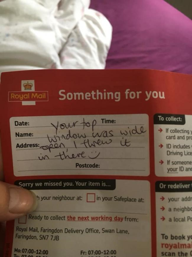The amusing Royal Mail notification received by Laura