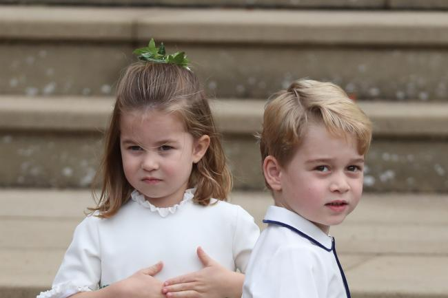Prince George with his sister, Princess Charlotte, at Princess Eugenie's weddin