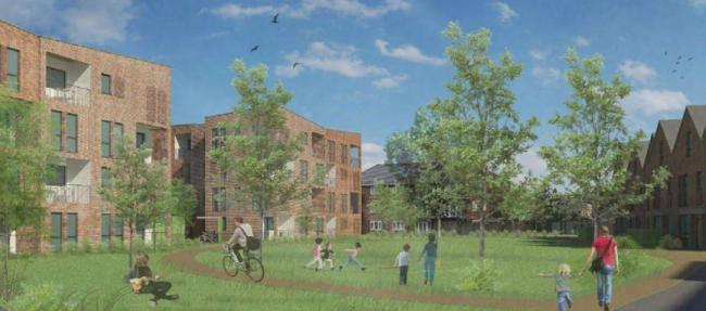 An artists impression of a previous version of the plans for William Morris Close, when the central flat blocks still had four storeys, instead of three. Picture: Oxford City Council.