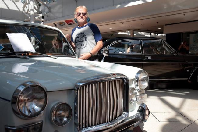 Kenny O'Hare who worked at Cowley in the 70s with a 1972 Vanden Plas Princess 1300 and, behind him a 1972 Marina Coupe TC in Templars Square which this week sees the return of the Cowley Classic Car Display with a stunning range of locally built class
