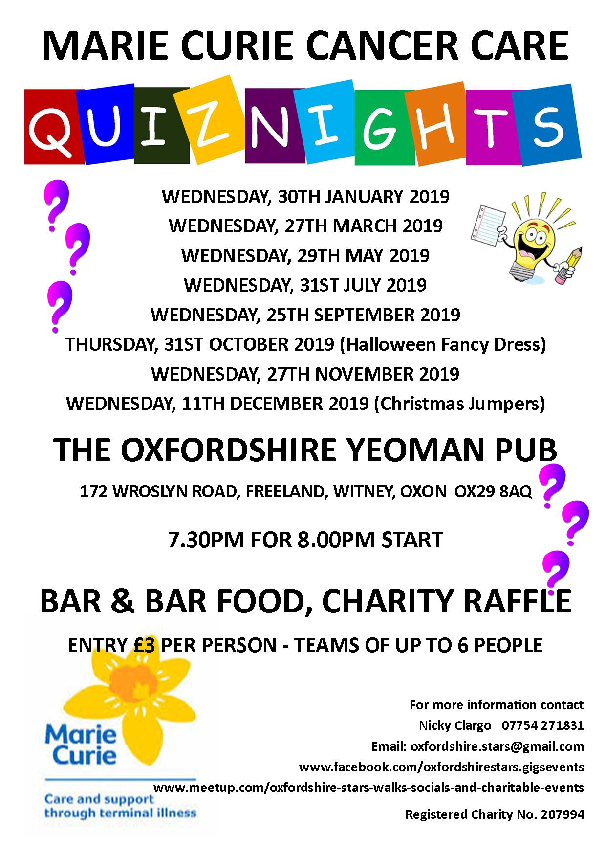 Quiz Night in aid of Marie Curie, Wednesday, 25th September 2019
