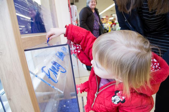 Tesco bags of help, child casting her vote. Picture: Kevin Lines