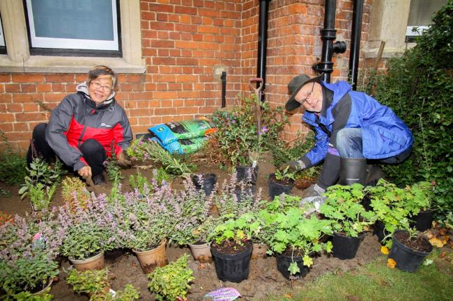 Sian Liwicki of Wild Oxfordshire, left, helping plant 300 bee-friendly flowers at Summertown Health Centre in October 2019.