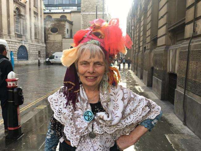 Extinction Rebellion campaigner Raga Woods outside City of London Magistrates' Court