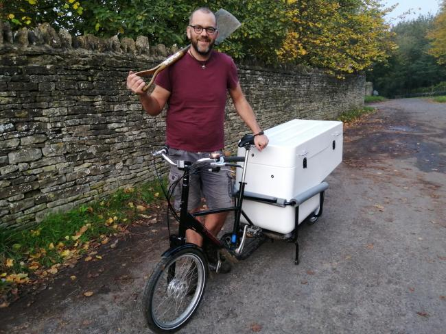 Kidlington-based organic gardener Richard MacKenzie with his cargo bike.