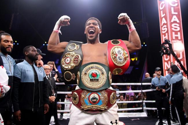 Anthony Joshua celebrates his victory over Andy Ruiz Jr
