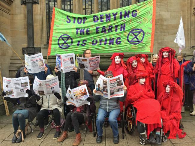 Extinction Rebellion (XR) protesters at the 2020 Oxford Farming Conference. Picture: Jane King, Extinction Rebellion. Inset: Colin Tudge.