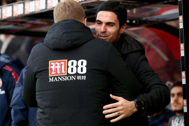 Arsenal head coach Mikel Arteta, right, is preparing for another tactical battle with Bournemouth boss Eddie Howe