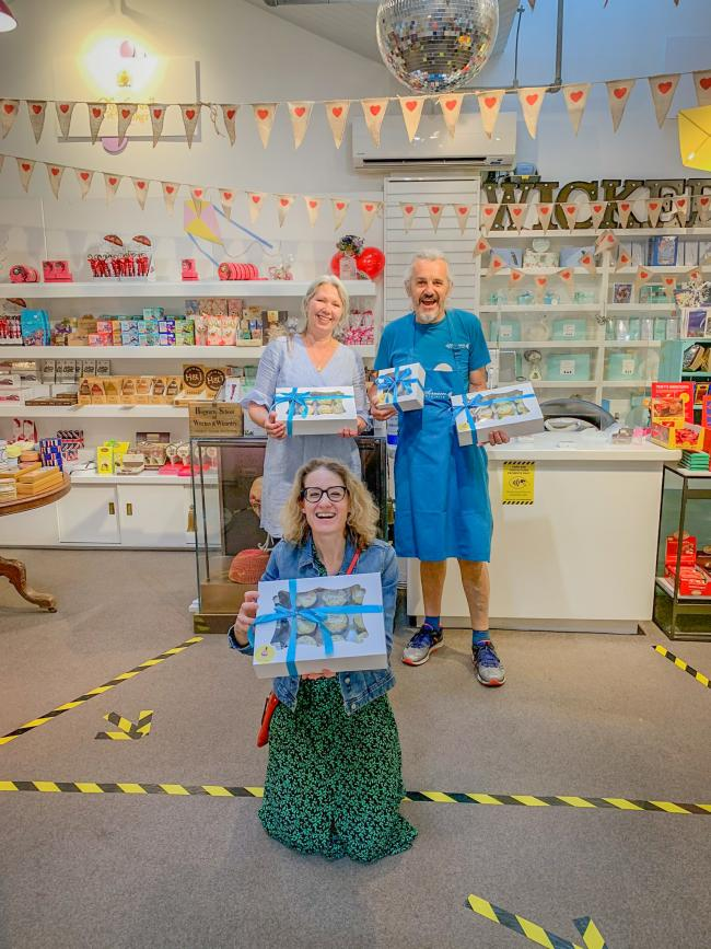 Graham and Jen McDonald celebrate five years at the Covered Market with Julia Atkinson of Happy Cakes. Pic: Oxford Covered Market