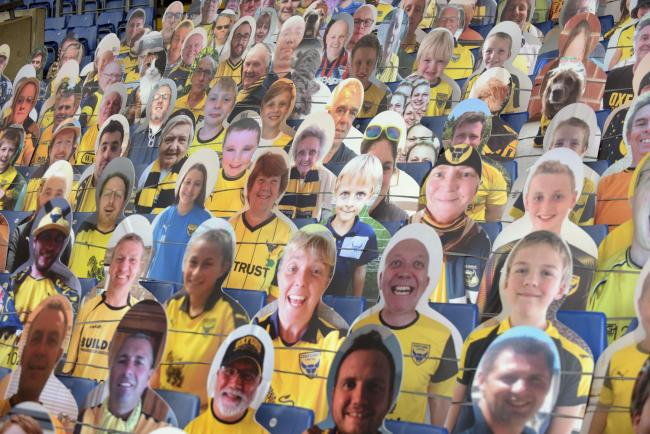 Some of the cardboard cut-outs of Oxford United fans at the Kassam Stadium Picture: David Fleming