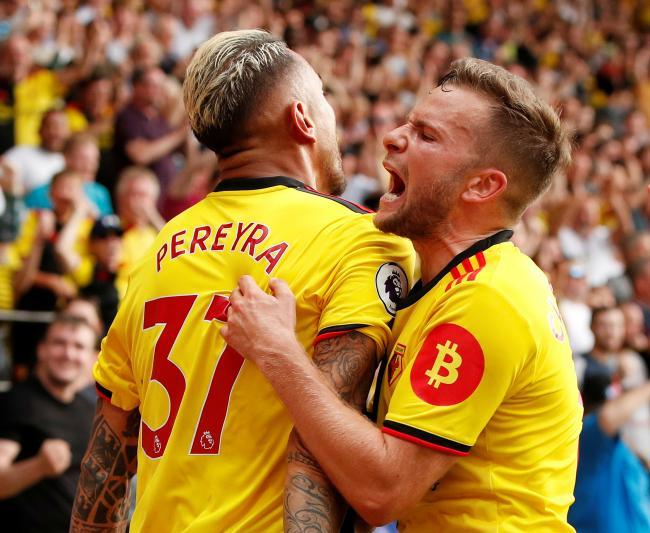 Roberto Pereyra and Tom Cleverley both scored in a draw against Arsenal earlier this season. Picture: Action Images