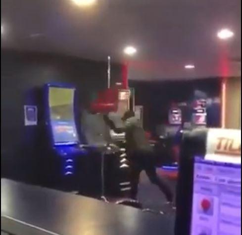 Footage of the incident at Betfred