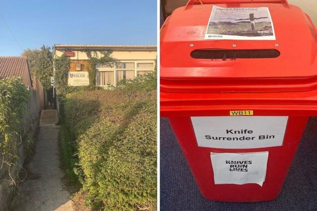 Knife amnesty bin at Blackbird Leys. Picture: TVP