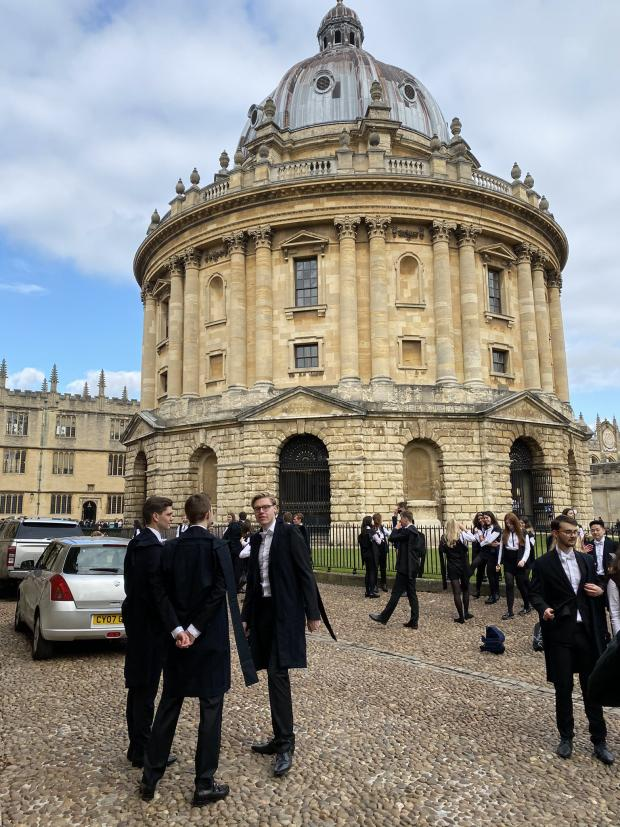 thisisoxfordshire: Students at the Radcliffe Camera. Picture: Adam Packer