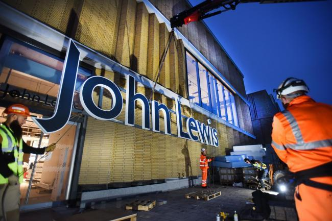 The sign goes up at John Lewis before the opening of Westgate in 2017 Picture: Richard Cave