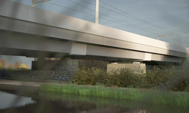 A CGI artist's impression of the Oxford Canal Viaduct with a smooth concrete finish on the piers. Picture: Moxon Architects
