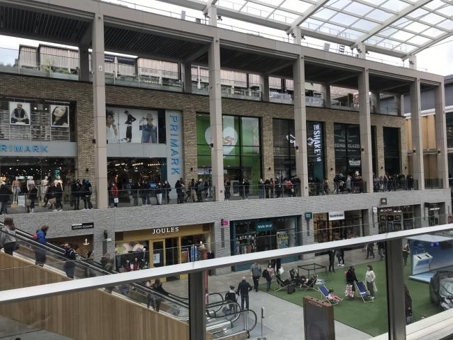 Long queues outside of Primark on Bank Holiday Monday