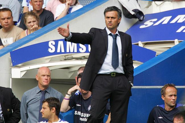 Jose Mourinho on the touchline at Stamford Bridge