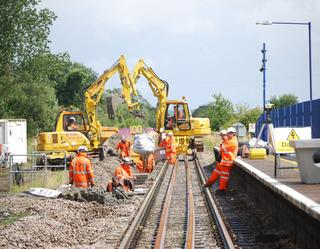 Engineers at Ascott-under-Wychwood station during the first phase of work last July