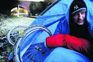 Paraplegic Mark Payne is living in a tent at Wolvercote Lock