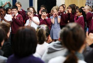 Pupils at Windale Primary School take part in the performance