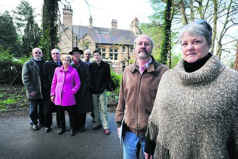 Headington Hill Umbrella Group members by Cotuit Hall, including former Brookes vice-chancellor Prof Graham Upton, far left, David Armitage, second from right, and Tess Boswood, right