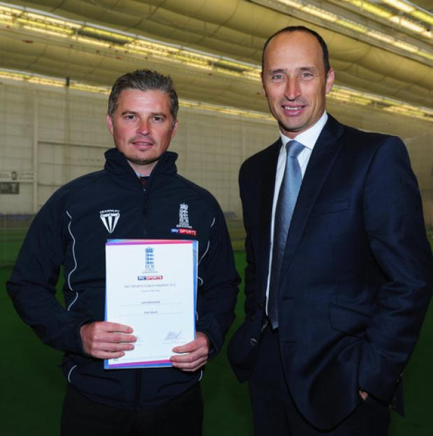 thisisoxfordshire: Alan Maule is presented with a special coaching certificate by ex-England captain Nasser Hussain