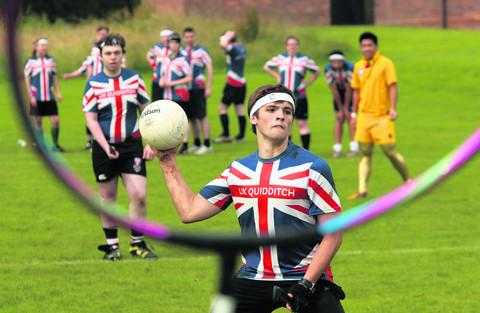thisisoxfordshire: Angus Barry pictured at the Quidditch tournament between Britain and France in Cutteslowe Park