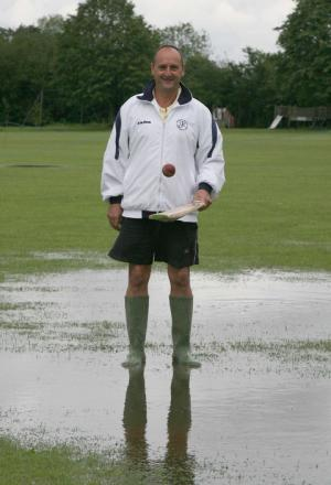 Groundsman Les Hole was defeated by the rain at Freeland's ground on Saturday
