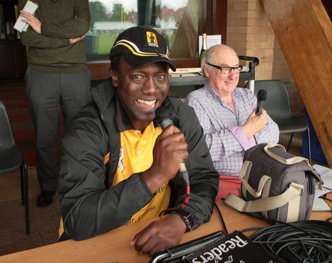 Henry Olonga (left) and Henry Blofeld commentate at Christ Church