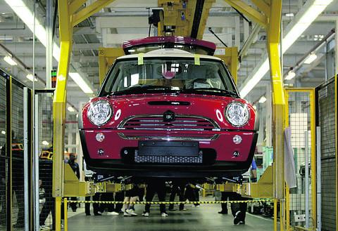 The production line for the mini at the BMW plant in Cowley