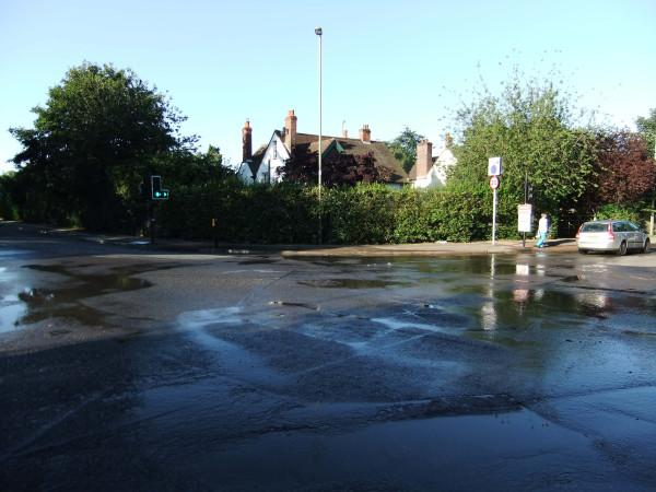 Burst water main in Headington