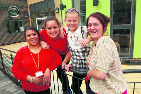 From left, Simone James and daughter Tamia, 11, Leona Page, eight, and mum Kimberley Jordan