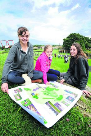 Three Harwell youngsters have galvanised the village behind their plans to revamp the Westfield play area. Left to right, Francesca and Zoe Trinder, aged 16 and 14 respectively, and their friend Amy Belcher, 14