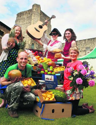 Oxford Castle is hosting a celebration of all things local. Front left to right: Gordon Piggott and Sarah Mayhew. Top left to right: Michelle Miles, Isaac Darkin and Rebecca Dawes. Picture: OX53640 Antony Moore