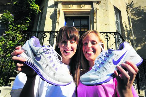 Council officers Vicki Galvin, left, and Courtney Warden are working on getting people out jogging. The council is running a contest to get people to take up running