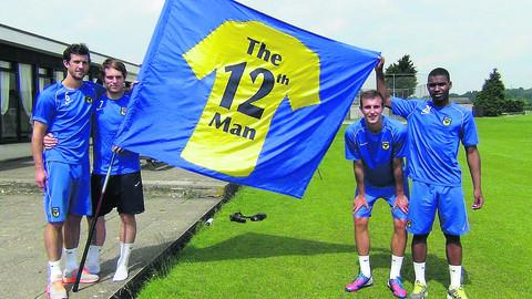 Oxford United FC players Jake Wright, left, Adam Chapman, Sean McGinty and Tyrone Marsh