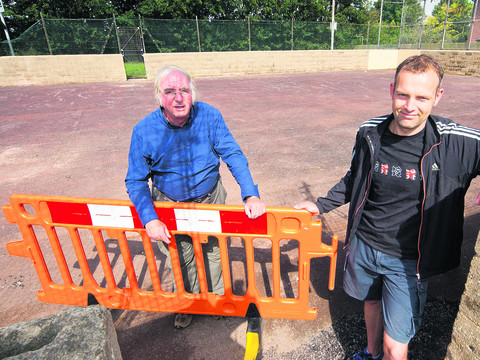 Richard Bryant, left, and city councillor Mark Lygo at the Peat Moors sports pitch