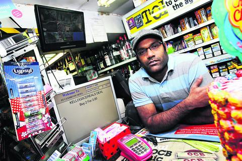 Suresh Kumar at his shop, St Clements News & Booze. Picture: OX540282 Ed Nix