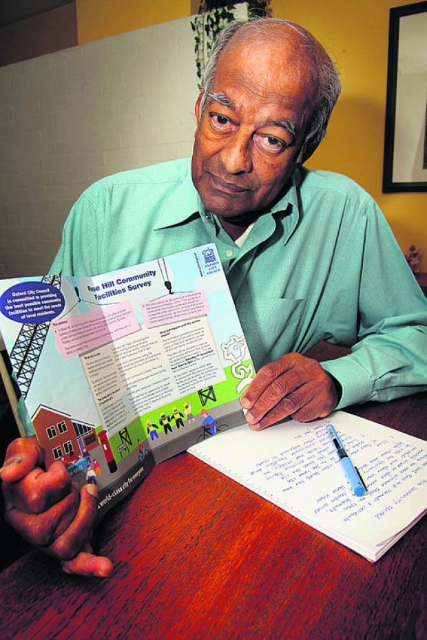 thisisoxfordshire: Vim Rodrigo with a survey Rose Hill residents have been given about community facilities
