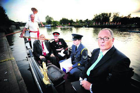 thisisoxfordshire: Left to right: Roger Blackburn, Robin Blandy (in hat), Deputy Lord Mayor Mohammed Abbasi, Lord Lieutenant Tim Stevenson, Lord Lieutenants Cadet Tom Pocock and president of Falcon Rowing and Canoe Club, Peter Travis   Picture: OX54052 Richard Cave