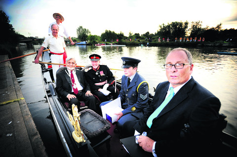 Left to right: Roger Blackburn, Robin Blandy (in hat), Deputy Lord Mayor Mohammed Abbasi, Lord Lieutenant Tim Stevenson, Lord Lieutenants Cadet Tom Pocock and president of Falcon Rowing and Canoe Club, Peter Travis   Picture: OX54052 Richard Cave
