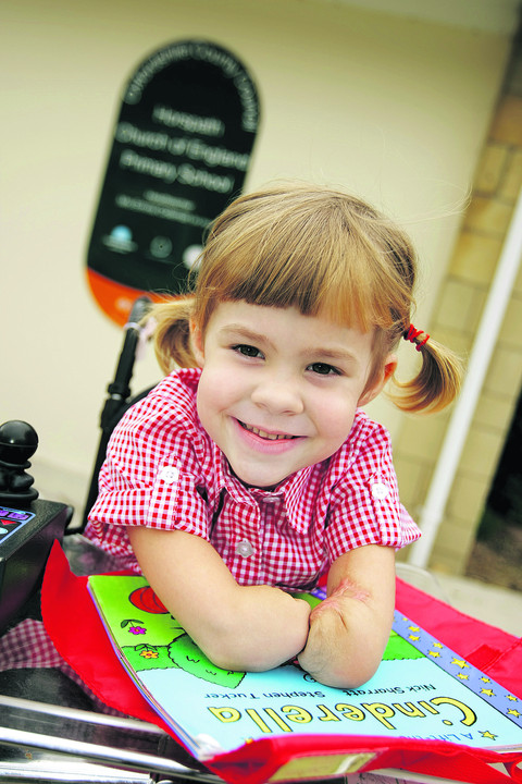Brave Charlotte loves her first day at school