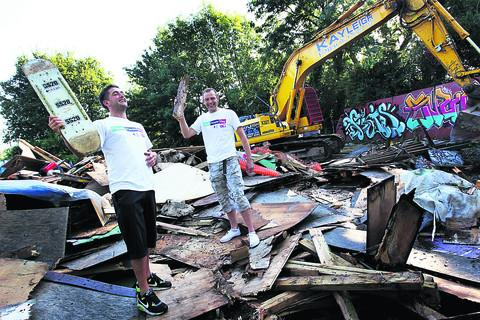 thisisoxfordshire: The skate park is demolished. Pictures: ox54181 Ed Nix