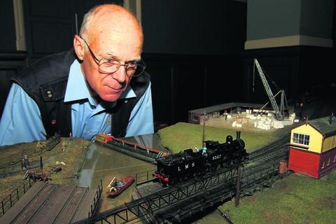 Brian Garland of Oxford Model Railway Club with part of the model of the Rewley Road station