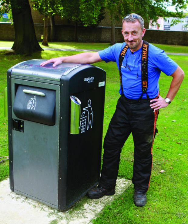 thisisoxfordshire: Park keeper Jason Rudge with the new bin