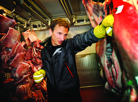 David Mott training in the freezer at Meatmaster in Osney Mead Industrial Estate