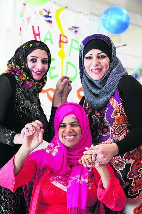 Fatma Abdulla, 36, who is chairman of the Oxford Swahili Community, pictured centre with Salma Sharriff, left, and Lubna Mahmoud